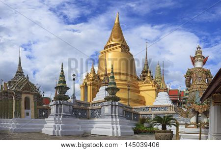 golden pagoda in grand palace bangkok thailand