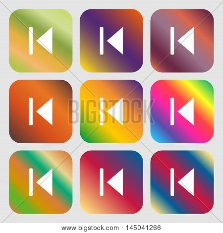 Fast Backward Icon. Nine Buttons With Bright Gradients For Beautiful Design. Vector