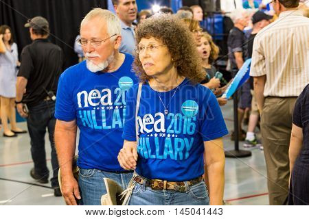 Lancaster PA - August 30 2016: Hillary Clinton and Tim Kaine Ticket supporters a rally for Virginia Senator Tim Kaine.