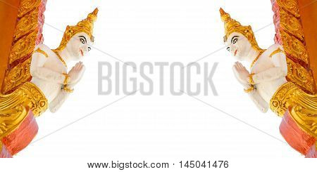 close up angle statue on white background