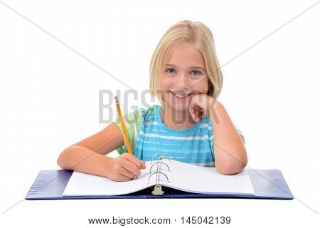 young girl student with pencil and notebook isolated on white background
