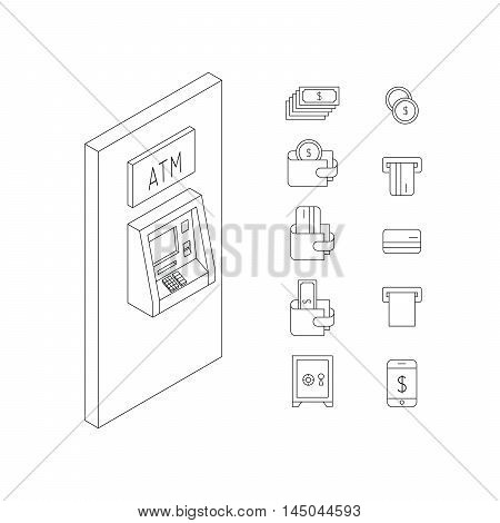 Vector set of icons in linear style on the subject of money, Finance, banking, ATMs