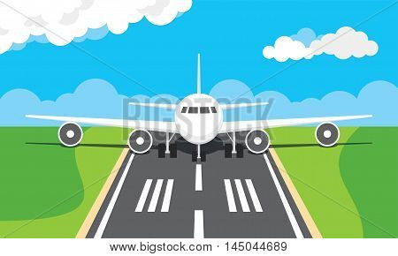 Vector illustration of a plane on a runway