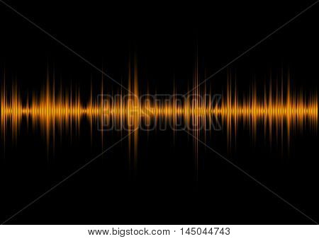 Yellow music sound waves for equalizer, vector illustration of musical pulse