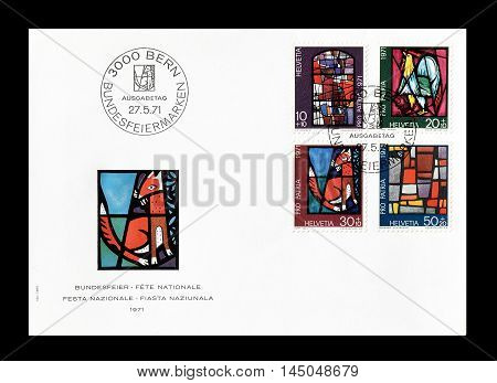 SWITZERLAND -CIRCA 1971 : Cancelled First Day Cover letter printed by Switzerland, that shows Church windows.