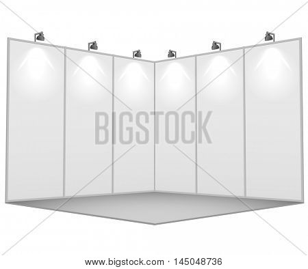 Blank white exhibition stand 3x3 sections vector template with wall illumination.