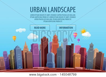 Urban cityscape. Colorful building, city Vector illustration