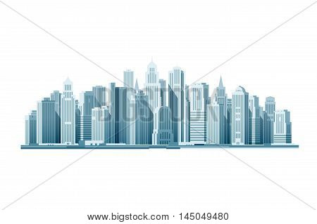Modern city with skyscrapers. Construction icon. Vector illustration