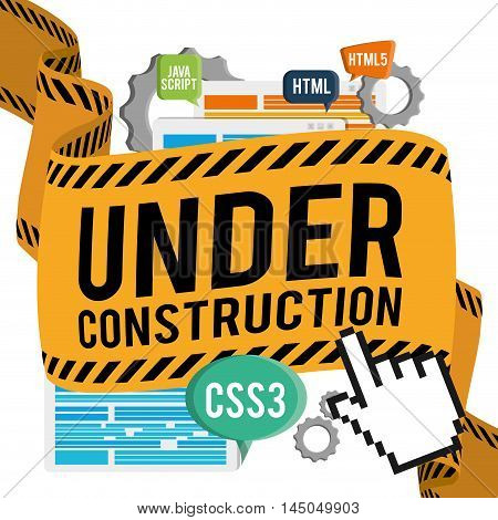 under construction cursor barrier gears site web online digital icon set. Colorful and flat design. Vector illustration