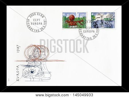 SWITZERLAND -CIRCA 1987 : Cancelled First Day Cover letter printed by Switzerland, that shows Europa CEPT stamps.