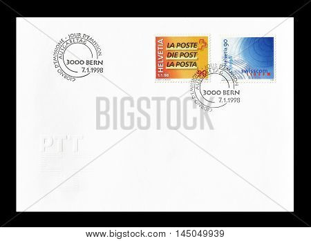 SWITZERLAND - CIRCA 1998 : Cancelled First Day Cover letter printed by Switzerland, that shows signs of the Post and Swisscom.