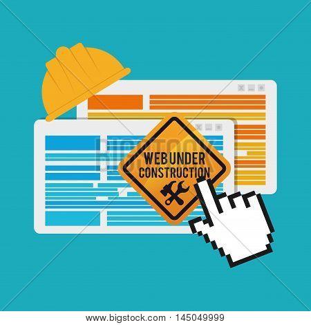 under construction cursor tools road sign helmet site web online digital icon set. Colorful and flat design. Vector illustration