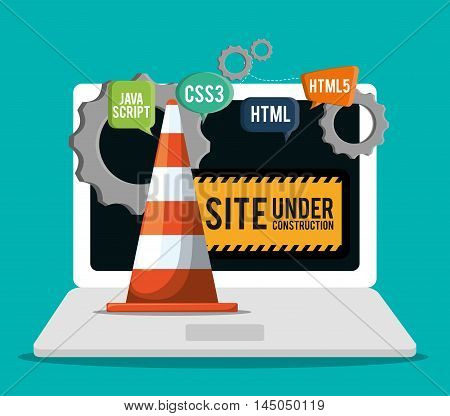 laptop cone gears under construction site web online digital icon set. Colorful and flat design. Vector illustration