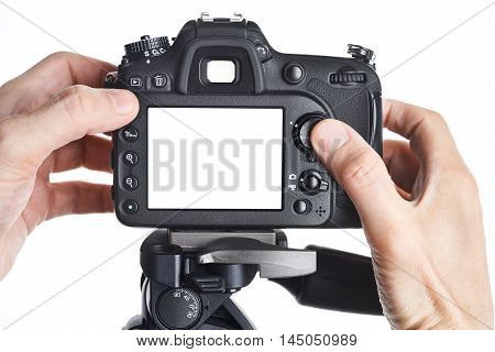 Hands Photographer Adjust Slr Camera Isolated