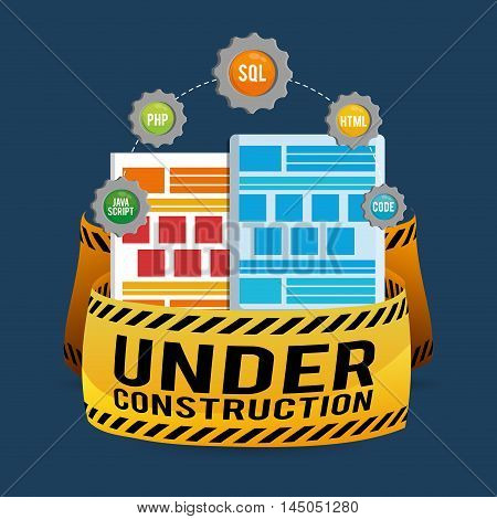 under construction barrier gears site web online digital icon set. Colorful and flat design. Vector illustration
