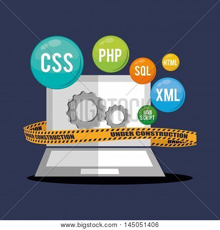 laptop gears barrier under construction site web online digital icon set. Colorful and flat design. Vector illustration