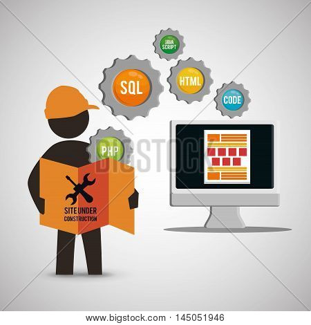 computer constructor tools road sign gears helmet under construction site web online digital icon set. Colorful and flat design. Vector illustration