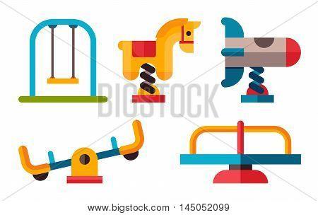 Playground Equipment In Flat Style