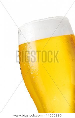 Detail of glass of cold beer with water drops isolated on white background