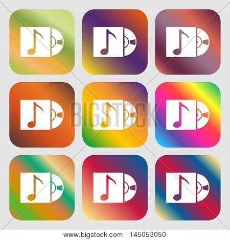 Cd Player Icon Sign . Nine Buttons With Bright Gradients For Beautiful Design. Vector