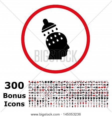 Brain Washing rounded icon with 300 bonus icons. Vector illustration style is flat iconic bicolor symbols, intensive red and black colors, white background.