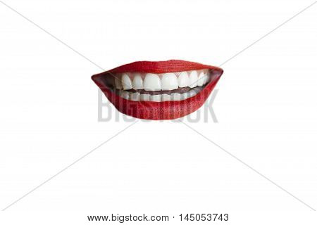 Isolated red lips smiling on white background.