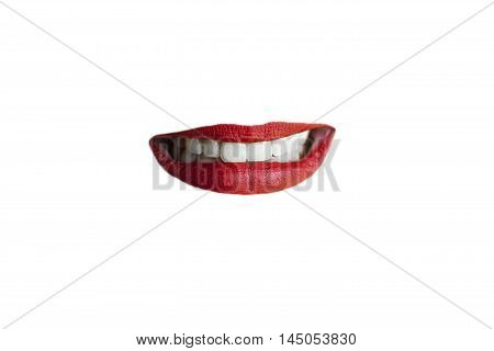 Isolated awkward smile red lips on white background.