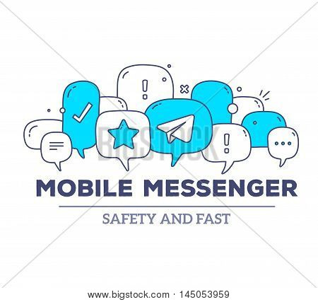 Vector Illustration Of Blue Color Dialog Speech Bubbles With Icons And Text Mobile Messenger On Whit