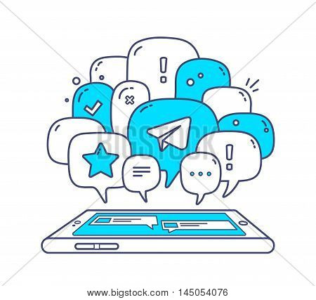 Vector Illustration Of Blue Color Dialog Speech Bubbles With Icons And Phone On White Background. Sa