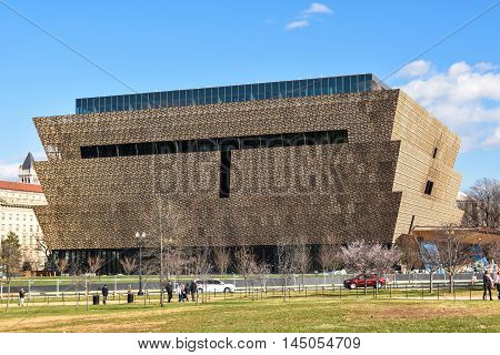 Washington DC, December19, 2015: View of Smithsonian National Museum of African American History and Culture (NMAAHC). Opening September 24, 2016.