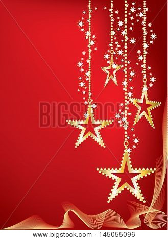 Bright red graded Christmas background with golden and bright stars