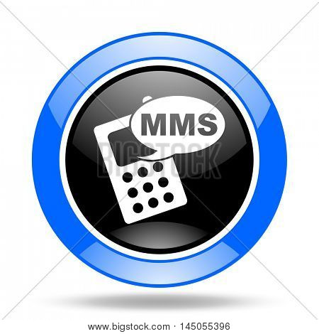 mms round glossy blue and black web icon