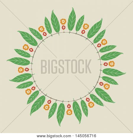 Circular empty badge made of 'Toran'- a garland made with mango leaves and marigold flowers. Indian festival decorative element.