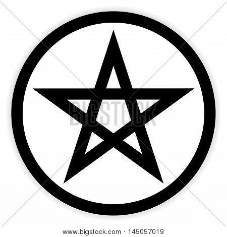 Pentagram button on white background. Vector illustration.