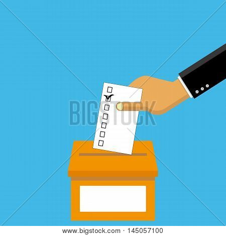 Voting in elections in vector - hand puts the paper in the ballot box.