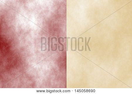 Illustration of red and vanilla divided white smoky background