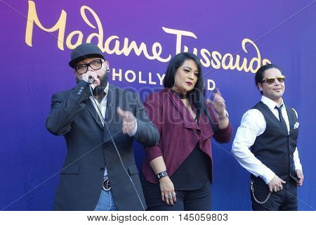 LOS ANGELES - AUG 30: A.B. Quintanilla, Suzette Quintanilla, Chris Perez as 'Madame Tussauds unveils a wax figure of Selena Quintanilla' at Madame Tussauds on August 30, 2016 in Los Angeles, CA
