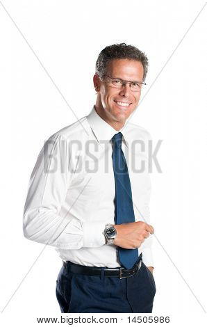 Smiling senior businessman looking at camera with a pair of glasses, isolated on white background