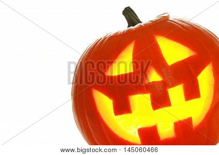 Halloween Jack O Lantern Over A White Background, Close Up In Corner