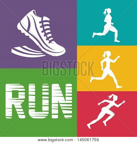 runner athlete woman girl shoes running training fitness healthy lifestyle sport marathon icon. Colorful and flat design. Vector illustration