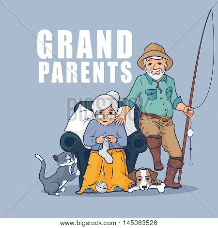 Grandparents sitting together with their pets. Happy grandparents day. Grandmother sitting in armchair and knitting socks. Vector flat illustration.