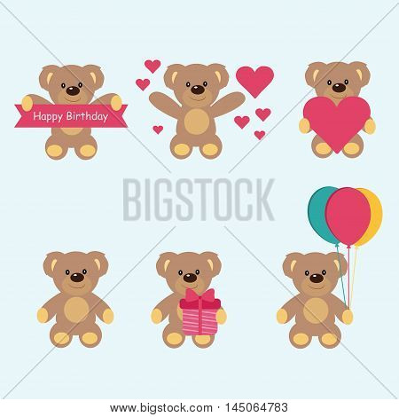 Teddy bear vector set character valentine day