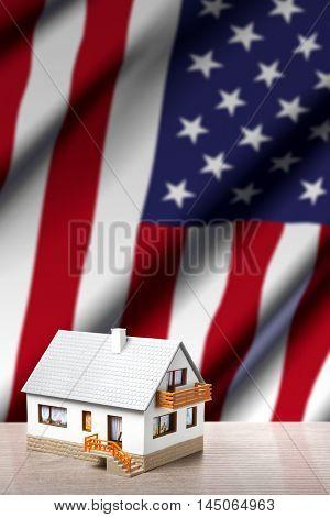 house against USA flag background