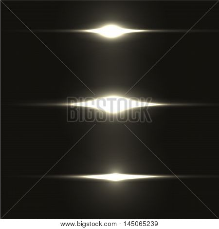 Realistic light glare sparkle, highlight set. Collection of beautiful bright lens flares. Lighting effects of flash. Easy to use. poster
