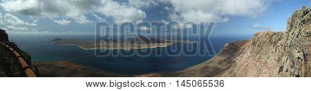 Summer Lanzorete Island Sea View Panorama. Mirador Del Rio. Canary Island