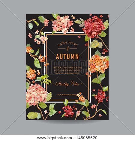 Vintage Floral Frame - Autumn Hortensia Flowers - for Invitation, Wedding, Baby Shower Card - in vector