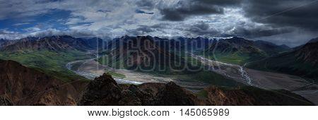 Toklat River Wilderness Mountain Landscape Panorama