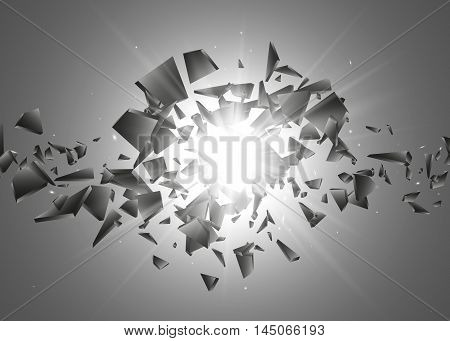 Black explosion background, Explosion cloud of black pieces with glow lights, Abstract vector illustration