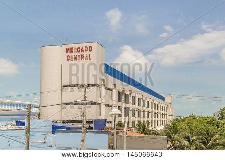 FORTALEZA, BRAZIL, DECEMBER - 2015 - Exterior view of modern style market building Mercado Central located in Fortaleza Brazil