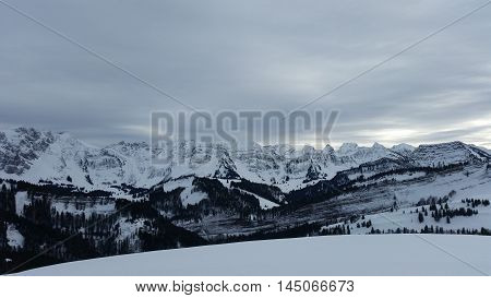 Alpine Snow Mountains Massif Landscape Panorama View.